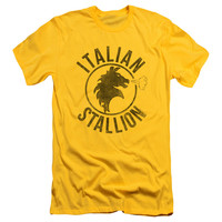 Rocky Men's  Italian Stallion Horse Slim Fit T-shirt Yellow