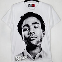 Face Rapper Childish Gambino Donald McKinley Glover Bino Troy Barnes Camp Derrick Comedy White Unisex T-Shirt S to XXL