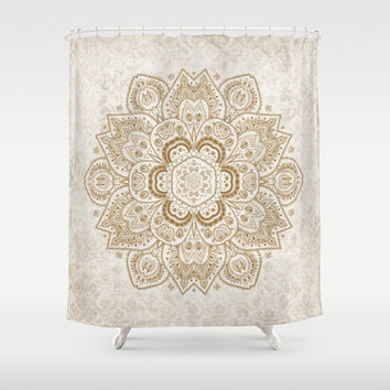 "Shower Curtain - Gold and Cream Mandala  - 71"" by 74"" Home Decor, Bathroom, Bath, Dorm, Girl, Decor, Boho, Mandala, Hippie, Bohemian, Beige"