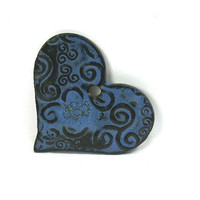 Ceramic Pendant, Stoneware Pendant - Blue Celtic Heart, Large Focal Pendant (OOAK Focal Pendant, Keychain, Ceramic Gift Tag, Necklace)