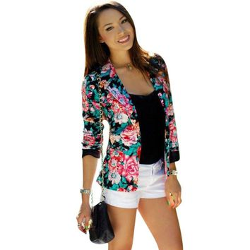 Women Suit Floral Coat Outwears One Button Jacket Slim Casual Business Blazer