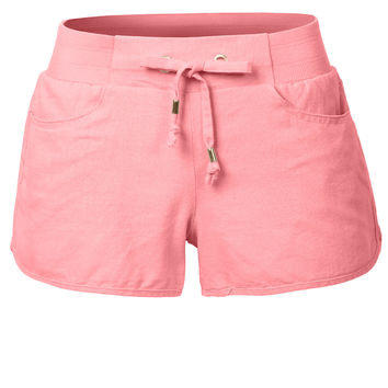 LE3NO Womens Lightweight Casual Basic Linen Shorts with Elastic Waist
