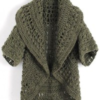 Half Sleeve Green  Knitting Cardigan $42.00