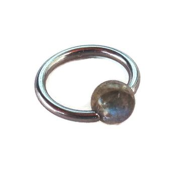 Captive Labradorite Bead Septum Upper Ear Daith Rook,Tragus,Cartilage,Hoop Earring,Nose Ring,Eyebrow Ring Body Jewelry 316L Surgical Steel Diameter:8mm,Gauge 16 (1.2mm)