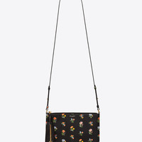 Saint Laurent Small MONOGRAM SAINT LAURENT Crossbody Bag In Black And Multicolor Prairie Flower Printed Leather | YSL.com