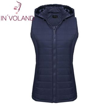 IN'VOLAND Large Size L-5XL Women Vest Jacket 2018 Spring Winter Warm Slim Hooded Zip-up Ladies Padded Sleeveless Coat Big Size