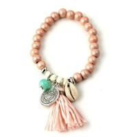 Bohemian Style Cowrie and Tassel Slip On Bracelet-In Stock