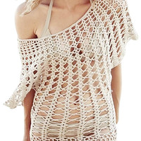 Beach Crochet Cover-up In Beige