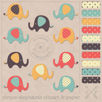 Elephant clipart and polkadots digital papers. Cute baby elephant clipart and polkadot for scrapbooking,web backgrounds, graphic design