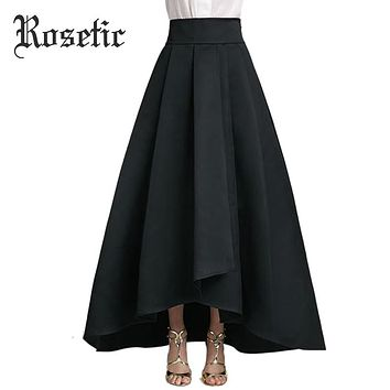 Gothic Women Skirt Asymmetrical Skirt Black Ankle Length Pleated Expansion Autumn Lace Up Goth Maxi Skirt