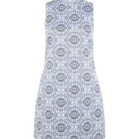Blue Jacquard Tile Print High Neck Sleeveless Dress