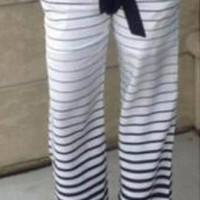 Black and White Stripped Flare Boho Summer Elastic Palazzo Pants