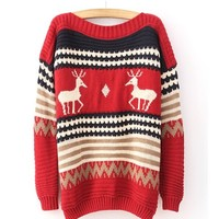 *Free Shipping* Red Deer Print Loose Pullover Sweater TBHTK1207r from clothingloves