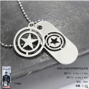 New Arrival Hot Movies Captain America Series Hollow Out Double Card Metal Couple Pendant Necklaces Fashion Jewelry