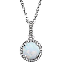 "Sterling Silver Created Opal & .01 CTW Diamond 18"" Halo-Style Necklace"