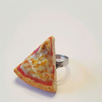Cheesy Pizza Slice Adjustable Ring, Polymer Clay Food Jewelry