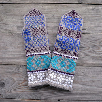 Brown and Turquoise Mittens - Long Wool Gloves - Wool Mittens - Gloves With a Floral Pattern - Long Mittens nO. 70
