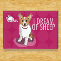 Corgi Dog Magnet  I Dream of Sheep  Red Pembroke by PopDoggie