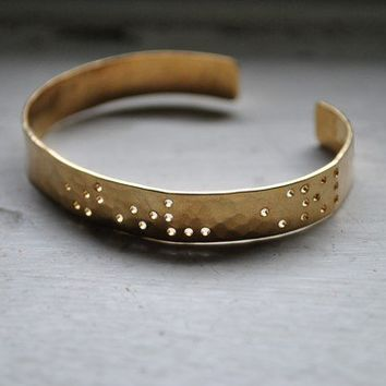 $80.00 LIVE LOVE CREATE  braille engraved cuff by LeighLuna on Etsy