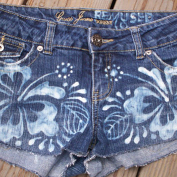 Hot Momma -  Hand bleached Hibiscus Henna design on daisy duke denim shorts
