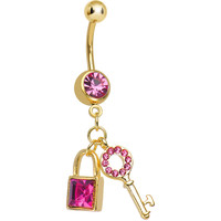 Pink Gem Gold Plated Blingy Lock and Key Dangle Belly Ring