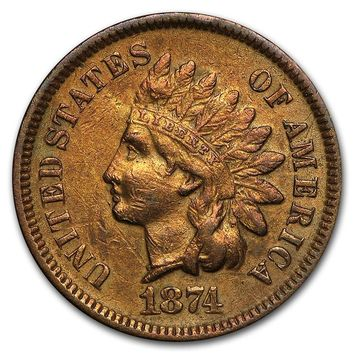 1874 Indian Head Cent VF Details (Cleaned, Corroded or Damaged)