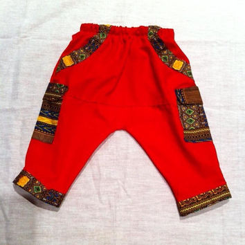 Red Dashiki Print Trimmed Cargo Harem Pants - Unique Baby Clothes