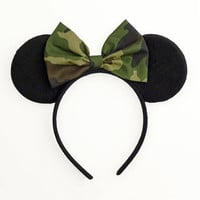 Mouse Ears Bow Camouflage Minnie Mouse Ears Halloween Costume Mickey Ears Headband Minnie Ears Camo Minnie Mouse Bow Minnie Mouse Outfit