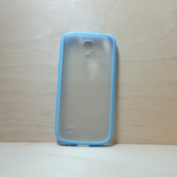 Silicone Bumper and Translucent Frosted Hard Plastic Back Case for Samsung Galaxy S4 Mini - Light Blue