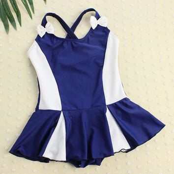 Kids Swimwear Skirt One Piece Swimsuit Sports Girls Conservative Swim Wear Bowknot Children Bodysuit Baby Girl Bathing Suit