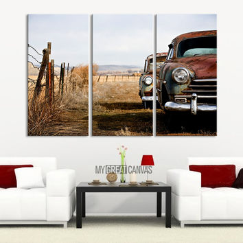 Jalopy Canvas Print - Old Cars Print on Canvas 3 Panel - Scrap Car Graveyard Art Print - MC32