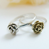 Tiny rose ring set-two stuck rings sterling silver and silver and brass
