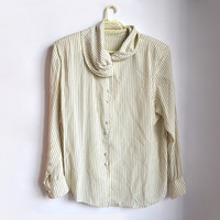 Vintage Striped Button Up Blouse Off White Olive Green Stripes Large L