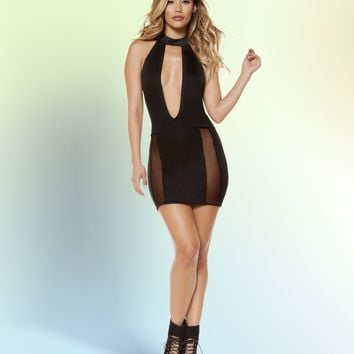 Roma 3338 Cutout Dress with Sheer Mesh Slit
