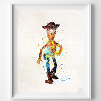 Woody Print, Toy Story, Disney Poster, Illustration Art, Type 2, Watercolor, Gift, Painting, Pixar, Nursery Room, Baby, Back To School