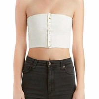 Button Down Tube Crop Top