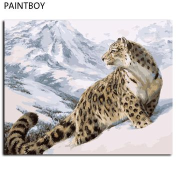 Leopard Wall Art  Frameless Pictures Painting By Numbers DIY Digital Oil Painting On Canvas Home Decor For Living Room GX7471