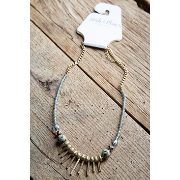 Spiked Bar Beaded Short Necklace, Gold/Grey
