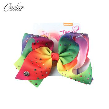 8 Inch Cartoon Rainbow Mermaid Hair Bows With Alligator Clip For Girls Rhinestone Hair Bows Kids Fashion Hair Accessories