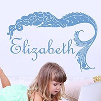 Wall Decal Girl Name Mermaid Sticker Personalized Name Nursery Baby Kids Custom Name Vinyl Sticker Decals Home Decor Art Bedroom Design Interior C517