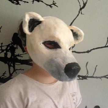 Polar Bear Mask/ Animal Mask / Paper Mache / Papier Mache/ Original / bear mask/masquerade