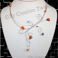 orange gray swirls necklace, unique design,illusion necklace,bridesmaids gifts,delicate necklace,wedding jewelry,fun jewel, modern jewelry