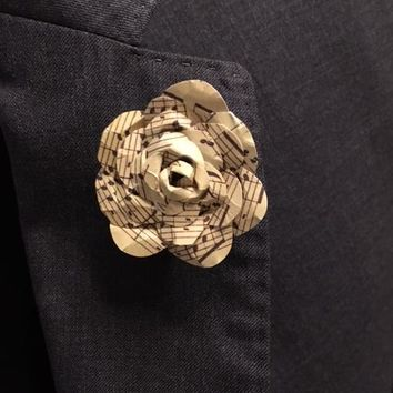 Music Note Flower Rose Lapel Pin