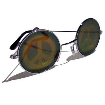 FREE SHIPPING, Peace sign hologram holographic hippie hippy lennon round sunglasses glasses shades sunnies + free tattoo choker