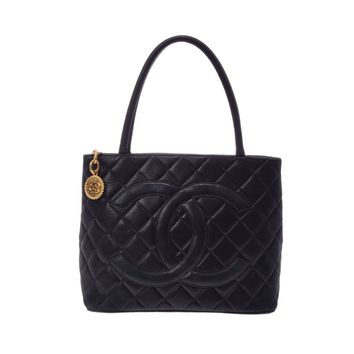 Authentic Chanel Girls,Women Leather Tote Bag Black,Gold 805000911449000