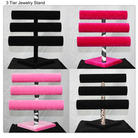 "12"" 3 Tier Jewelry Hard Display Stand Holder Bracelet Chain Bangle Watch T-bar"