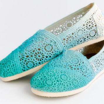Dip Dye Crochet Ombre TOMS Shoes by avenueleven on Etsy