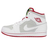 Men's Air Jordan 1 Mid WB Shoe White/Light Silver/Black/True Red 8.5