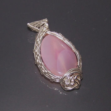Intricate Wire Wrapped Pendant, Pale Pink Oval Natural Agate Bead , OOAK Pendant, Stone Setting