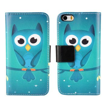 Case For Apple iPhone 4 4s SE 5 5s Cover Wallet Leather Cute Green Owl Stand Holder Mobile Phone Bags Shell Coque Etui Capinhas